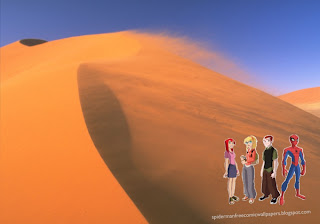 Spiderman Wallpaper Super Hero Peter Parker and girlfriend Mary Jane in Desert Wind background