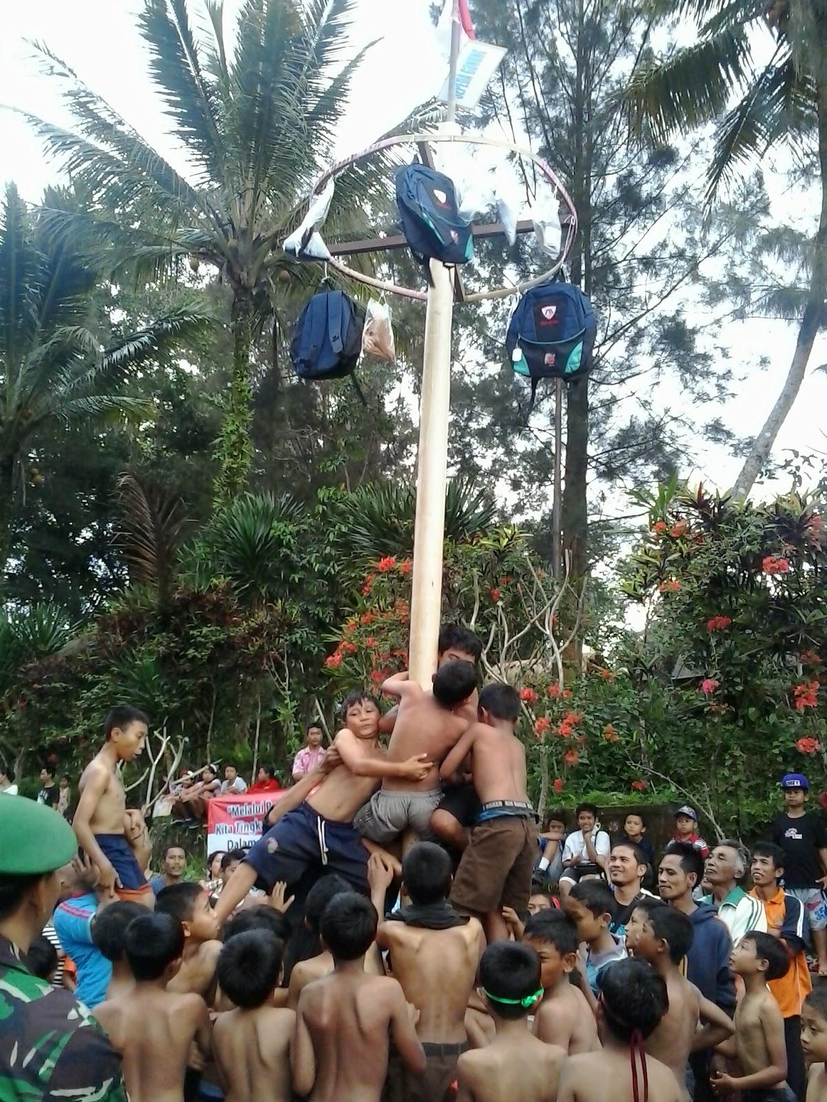 Lomba memanjat pohon pinang