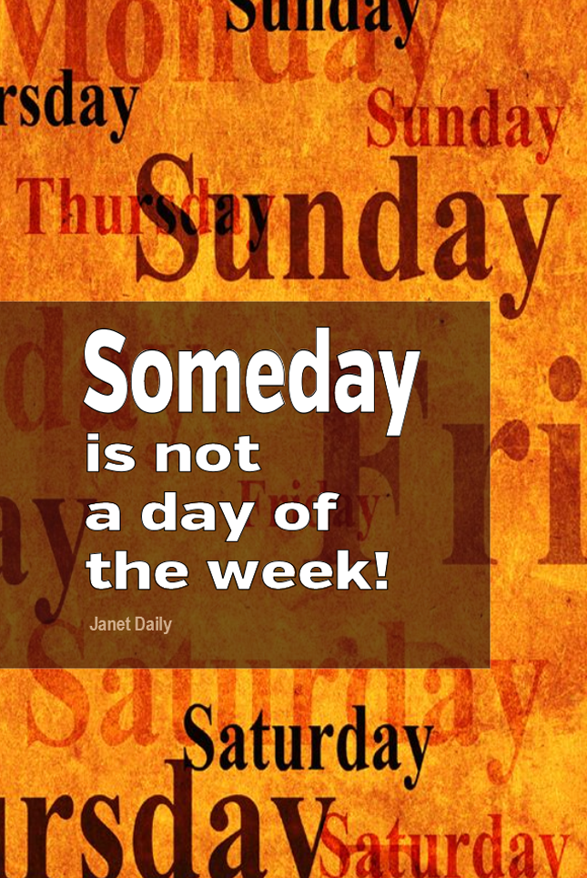 visual quote - image quotation for MOTIVATION - Someday is not a day of the week! - Janet Daily