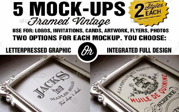 free 5 PSD framed vintage Mock-ups