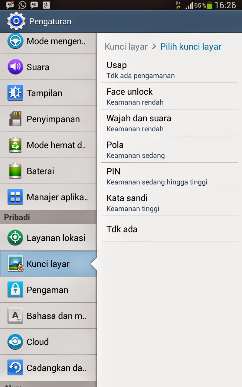 Cara Mengkatifkan Kunci Layar Pada Smartphone Android