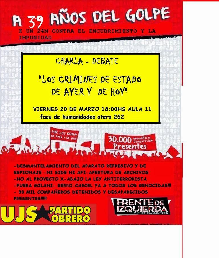 A 39 AÑOS DEL GOLPE MILITAR// CHARLA DEBATE