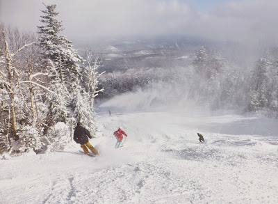 Skiers on Foxlair, Friday morning 11/28/2014.  The Saratoga Skier and Hiker, first-hand accounts of adventures in the Adirondacks and beyond, and Gore Mountain ski blog.