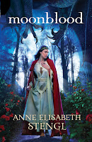 cover of Moonblood by Anne Elisabeth Stengl - young woman hurrying down a rose garden path with a dragon hovering almost out of sight above her