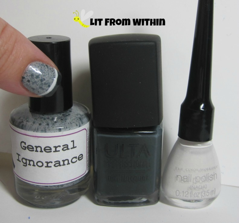 Bottle shot:  LynBDesigns General Ignorance, Ulta Total Eclipse, and a white striper.