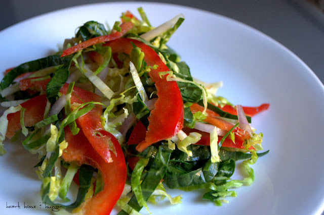 fennel, red pepper, bok choy and brussel sprout salad