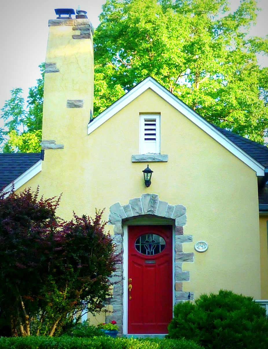 Two Yellow Houses With Red Doors. Mellow Yellow Monday And Monday Doorways