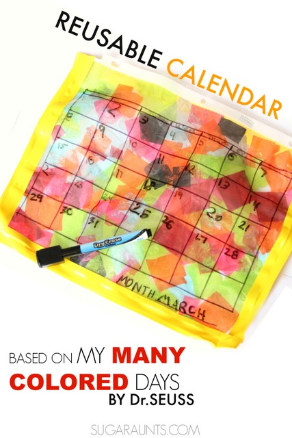 Make a reusable calendar based on Dr. Seuss book, My Many Colored Days.  This one has many colors that show us our days can be filled with emotions (colors). Kids love to make this DIY calendar!