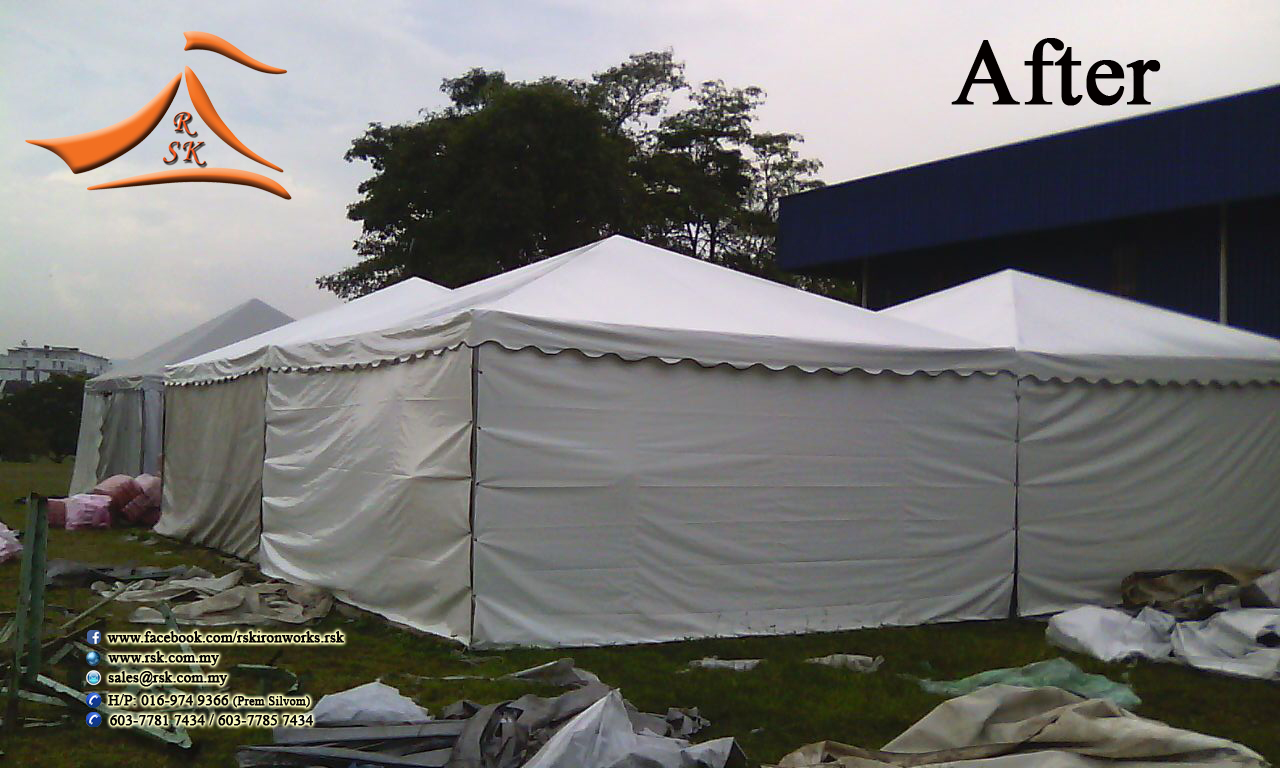 Our client requested to change the existing canvas which already old and tear. The size was 18u0027 x 18u0027 Pyramid Canopy with Side wall size 18u0027 x 8u0027 and water ... & RSK Iron u0026 Canvas (M) Sdn Bhd: 18u0027 x 18u0027 Pyramid Canopy with Side ...