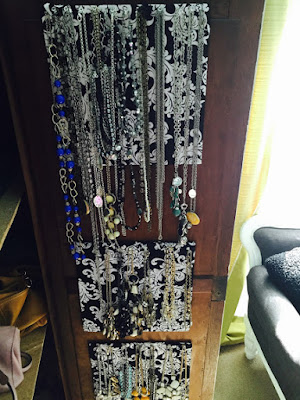 DIY necklace holder out of cork board and fabric, The Style Sisters, Necklace holder, Organizing jewelry