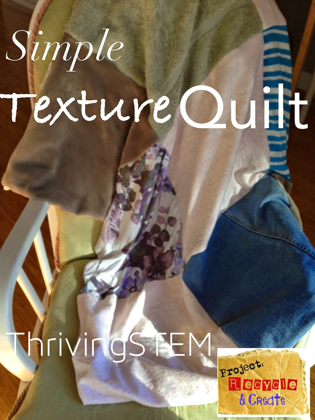 Use old clothes to sew a simple tactile quilt for your baby.