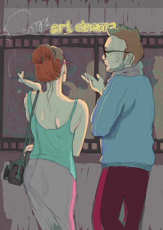 illustration for article in magazine smart cinema fuss ilustracja