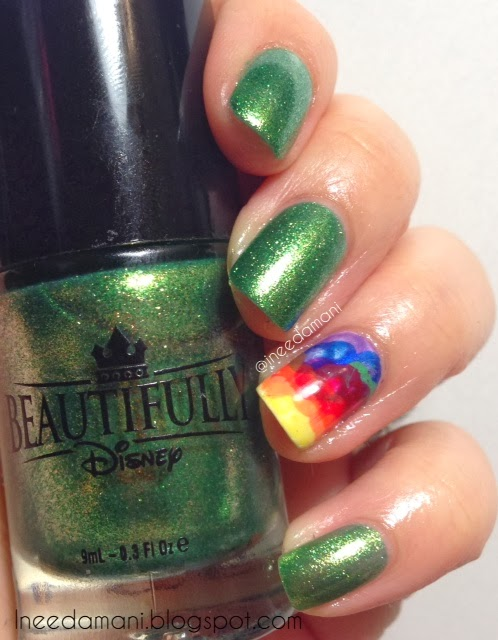 St. Patrick's Day rainbow nimbus nails
