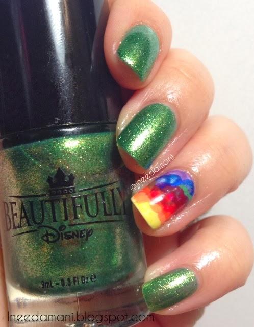 St. Patrick's Day rainbow nimbus nails