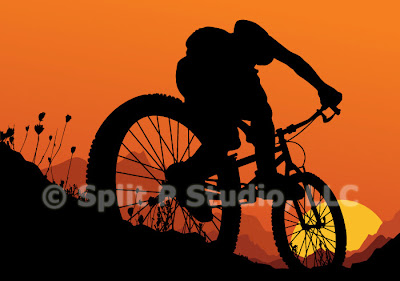mountain bike vector art, male biking