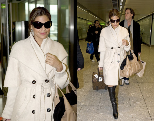 Eva Mendes In Sophisticated Cream Coat With A Pair Of Knee High Boots