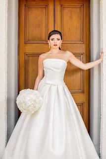 model wears a wedding dress for a bridal wear shoot