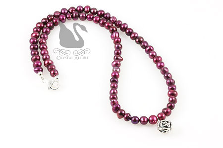 Cranberry Rose Freshwater Pearl Beaded Necklace (N064)