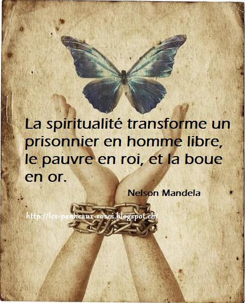 LES PANNEAUX ROSES : Citation de Nelson Mandela sur la spiritualité