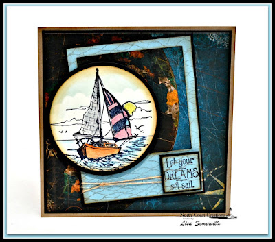 North Coast Creations Stamp sets: Sail Away, Our Daily Bread Designs Stamp sets: Fishing Net Background, ODBD Custom Dies: Layered Lacey Squares, Matting Circles, Circle Ornaments