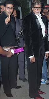 Abhishek and Amitabh at Director Rohit Shetty's sister's wedding
