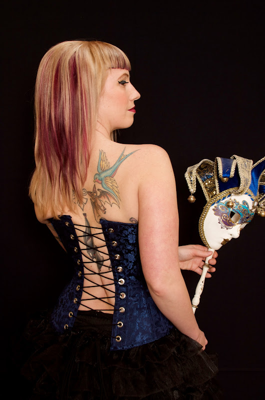 Over bust custom Corset made from blue dragon print chinese brocade  title=