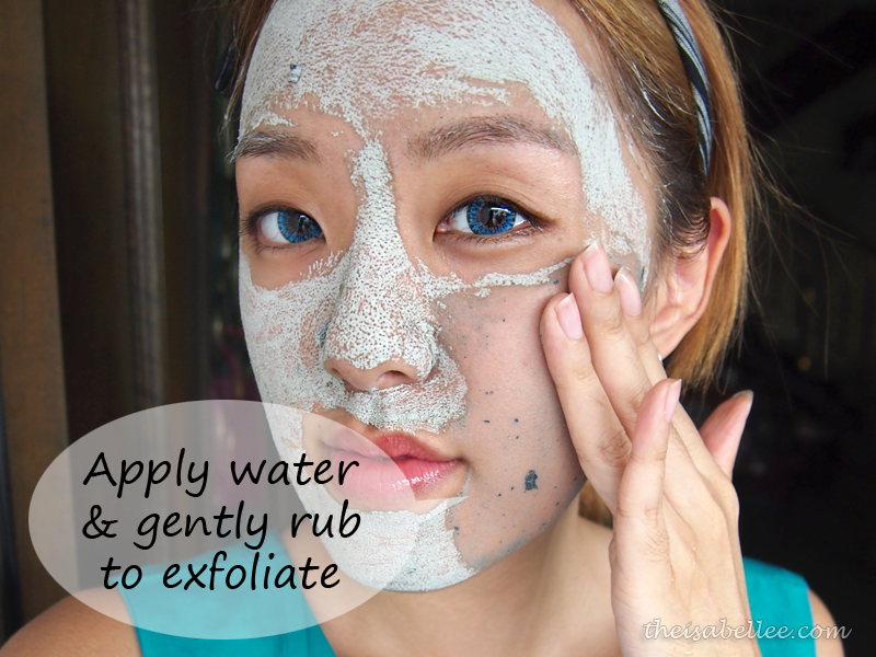 Wet face with GlamGlow Youthmud and exfoliate