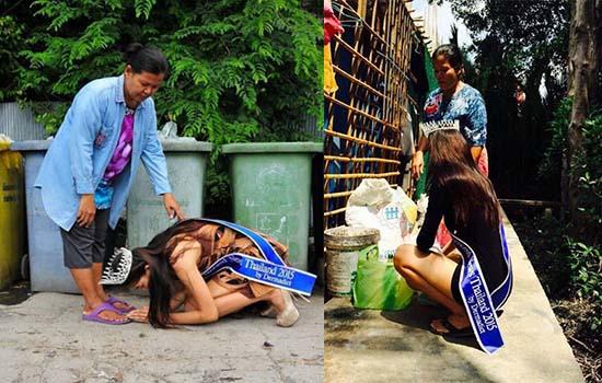 Disebalik Kisah Miss Thailand Miss Uncensored 2015 Melutut Depan Pengutip Sampah
