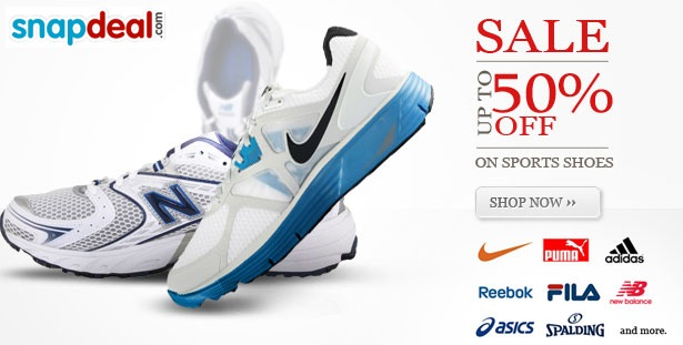 Offer on Snapdeal: Purchase Sports Shoes with 50% reduction