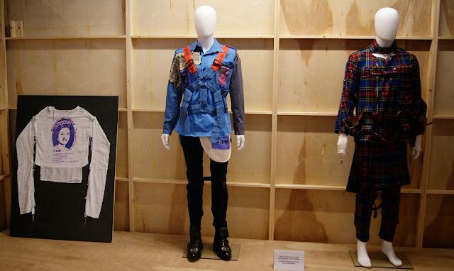 Politics of Fashion/Fashion of Politics Exhibit at Design Exchange in Toronto, Culture, jeanne beker, jeremy laing, clothing, exhibition, history, the purple scarf, melanie.ps, ontario, canada, art, designers, canadian, vivienne westwood, punk, bondage, malcolm mclaren, seditionaires