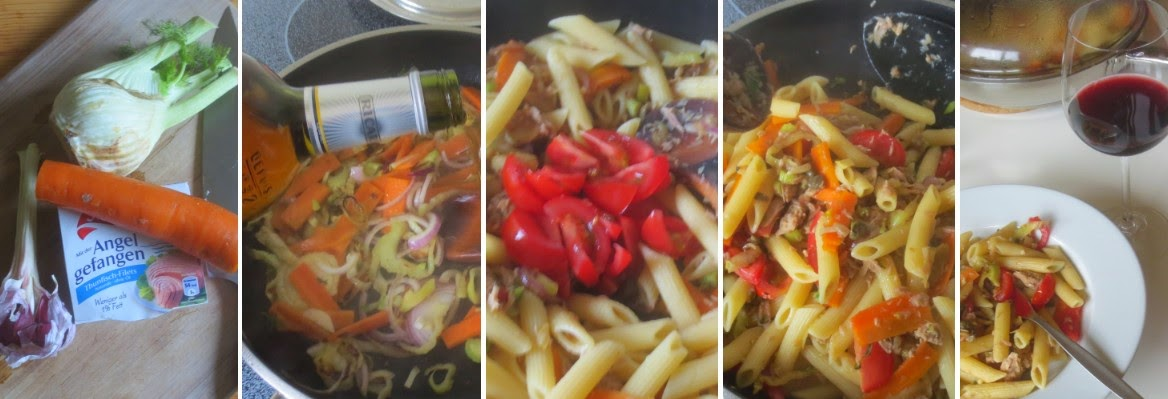 Zubereitung Penne mit Fenchel, Kapern und Tunfisch