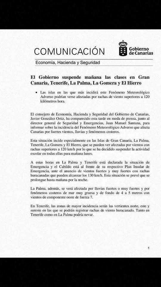 bulo la suspensión de clases en Canarias