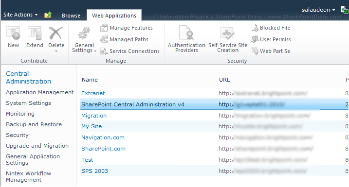 SharePoint 2010 Central Administration Ribbon Buttons Disabled