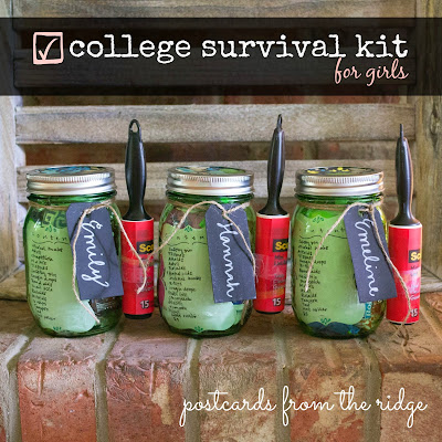 Mason Jar College Survival Kit ~ Postcards from the Ridge #masonjar #balljar #canitforward @ballcanning