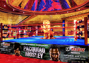 This is a 3 shot HDR image of a boxing ring that was setup inside the MGM . (fight night in vegas)