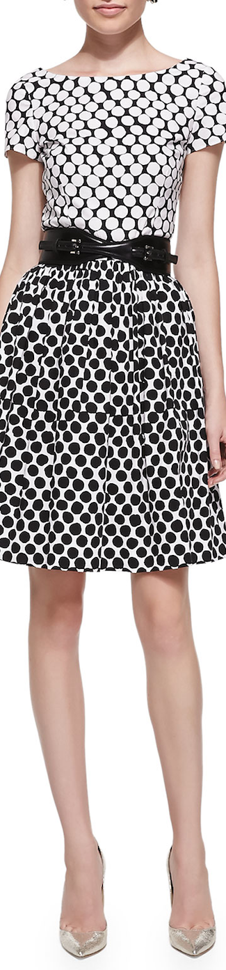 Oscar de la Renta Short-Sleeve Polka-Dot Contrast Dress Black/White