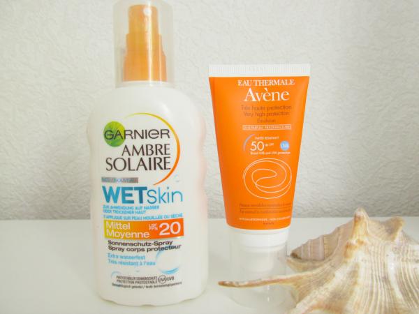 Garnier Ambre Solaire WetSkin Sonnenschutz Spray und Avéne Sonnenemulsion mit SPF50+