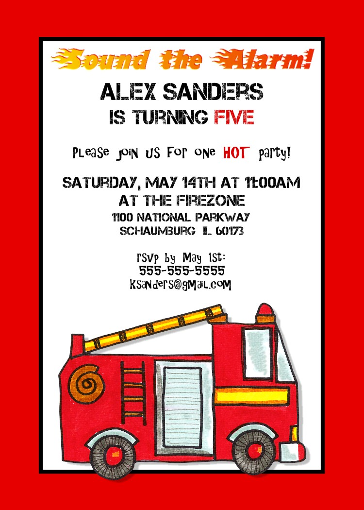 Bear River Photo Greetings Fire Truck Birthday Invitations and – Firetruck Birthday Invitations