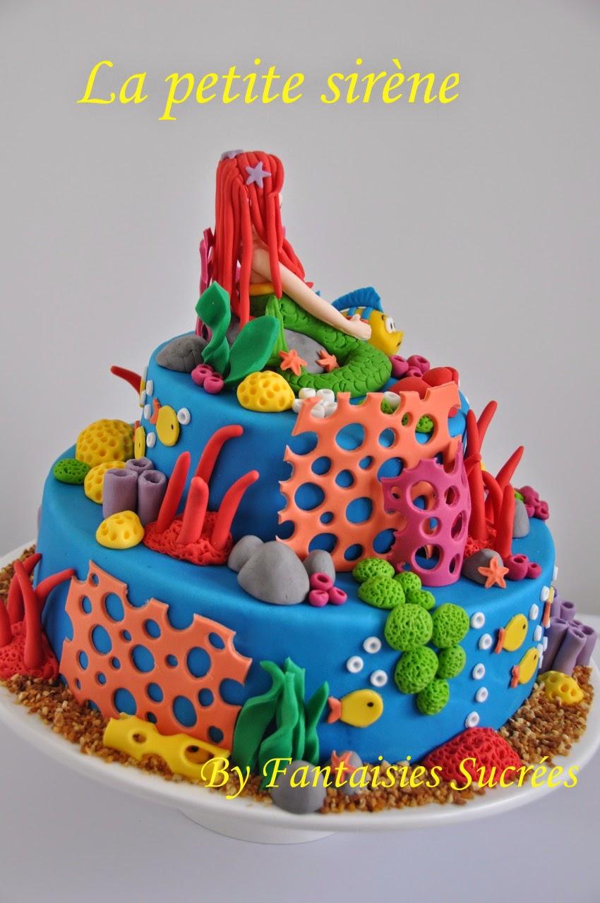 Fantaisies sucr es g teau anniversaire 3d disney la petite sir ne birthday cake - Image petite sirene ...
