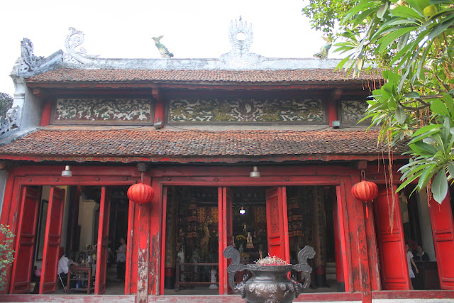 Main building of Ngoc Son Temple for praying and visiting the bronze turtle exhibition at Hoan Kiem Lake in Hanoi, Vietnam