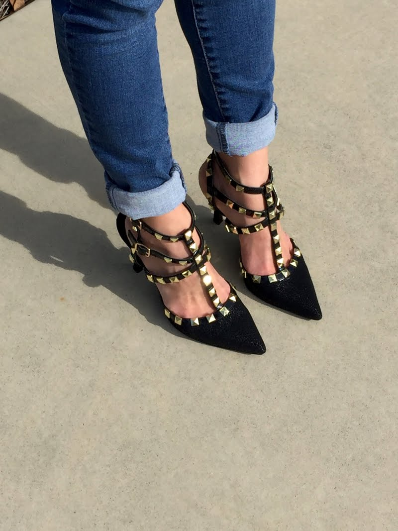 Close up of Rockstud shoes.