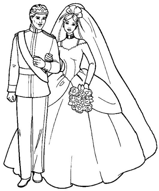 The Wedding Dresses Princess Coloring Sheet to Print Cartoon