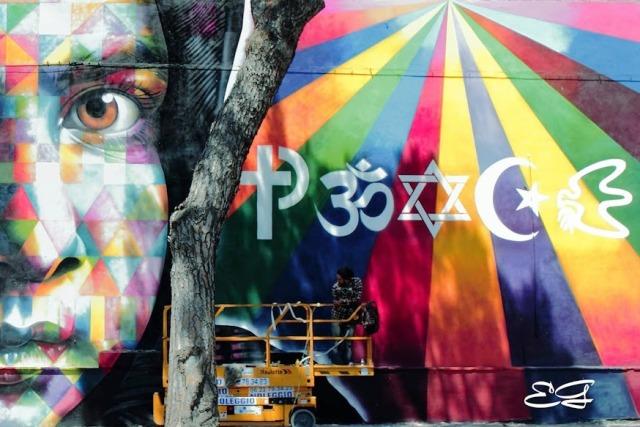 Mural por la Paz en Roma de Kobra
