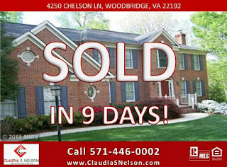 Sold in 9 Days! Sell Your Home Fast Woodbridge VA with Listing Agent,  Claudia S. Nelson 571-446-0002