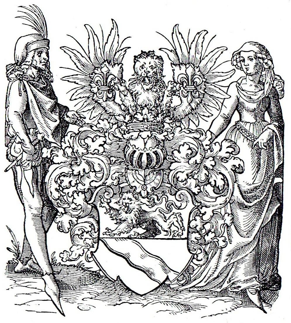 Grabado de escudo medieval