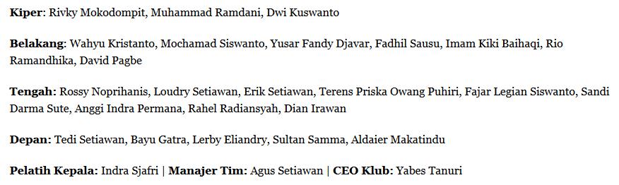 Ini daftar 24 pemain Pusam Bali United di bawah asuhan Indra Sjafri