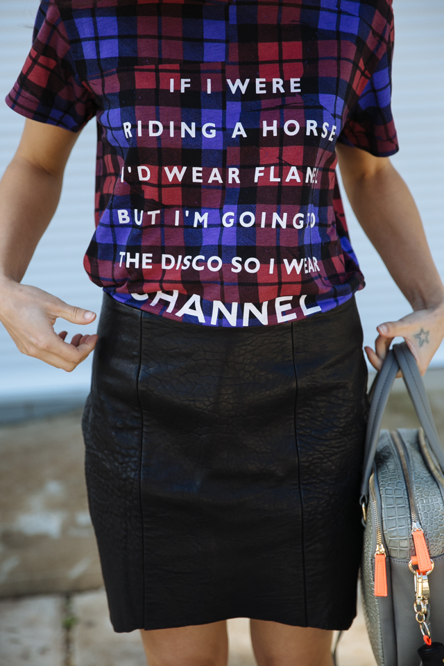 If I were riding a horse I'd wear flanel but I'm going to the disco so I wear Channel. Plaid flannel Ksubi tee.