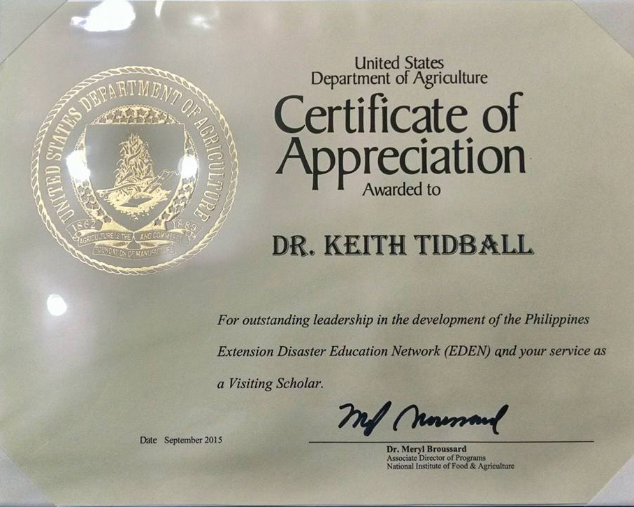 Tidballcornell tidball awarded certificate of appreciation from tidball served as a visiting scholar at usda in 2014 where he authored a usda white paper containing policy recommendations for expanding the us eden yelopaper Image collections
