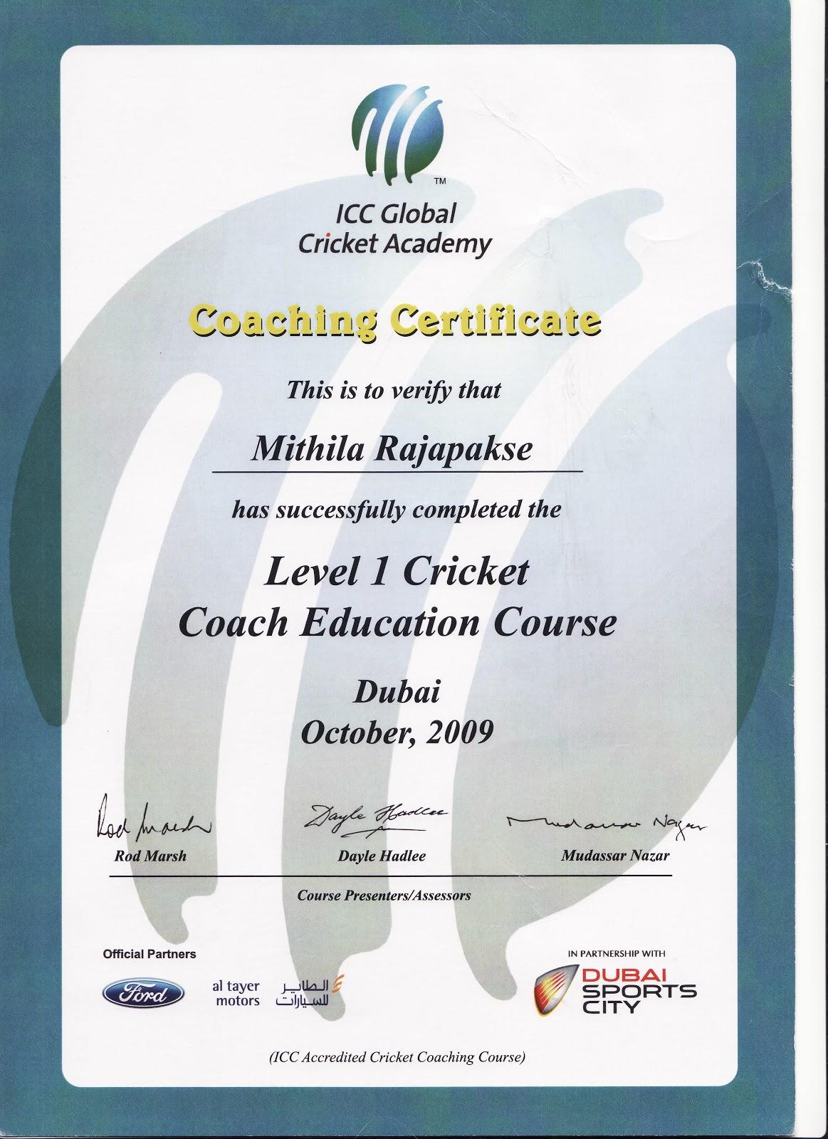 Mithila rajapakse cricket certificates cricket certificates xflitez Gallery