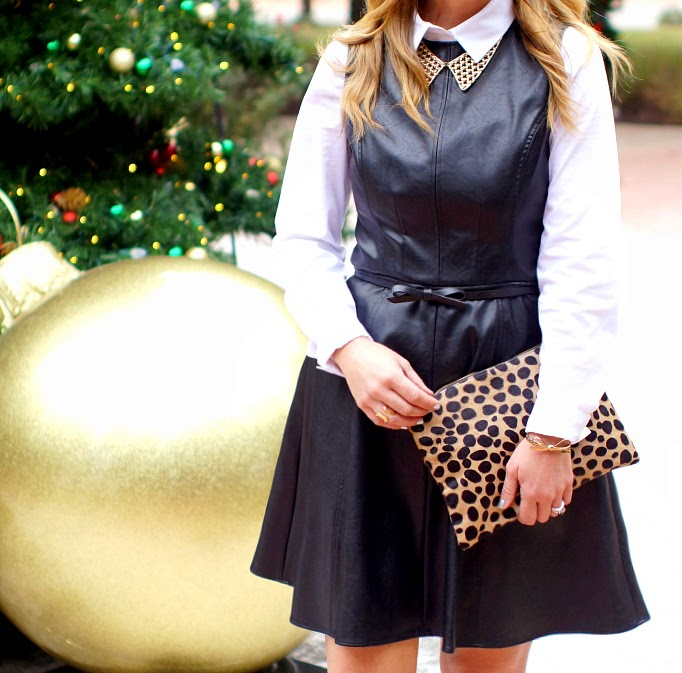 Leather dress with cheetah and bow accents